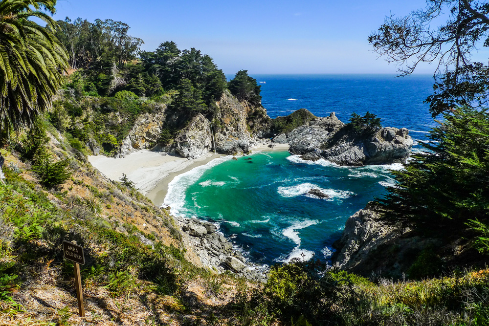 McWay Falls at Julia Pfeiffer Burns State Park in Big Sur — a short walk from the parking lot to see this stunning landscape and waterfall. A house used to sit just to the left of this photo frame; what an epic view they would have had.