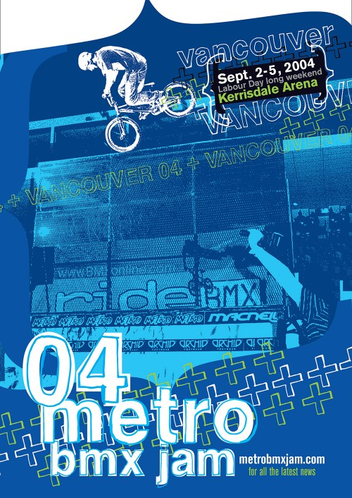 2004 Vancouver Metro Jam ad published in RideBMX Magazine, featuring Dustin Guenther.