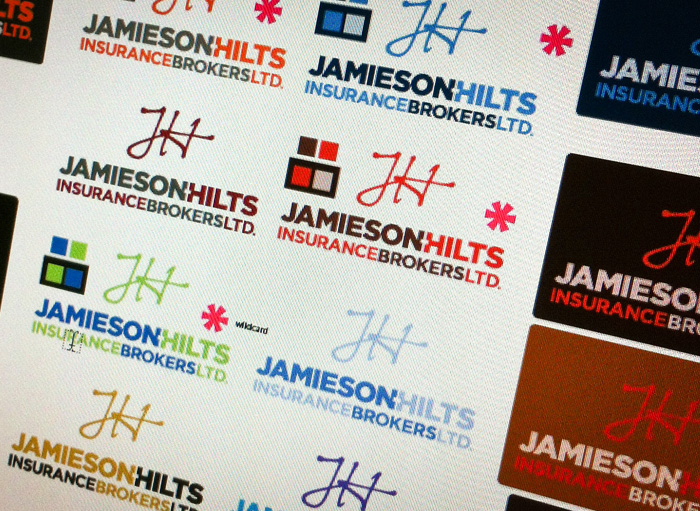 A few of the final colour explorations for the Jamieson-Hilts logo concepts.