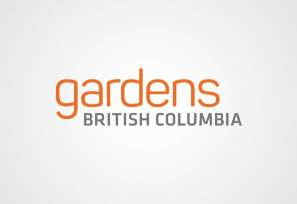 Gardens British Columbia chose a simple text only wordmark for their logo; it has to stand out boldly against very saturated, dramatic photography that will accompany it.