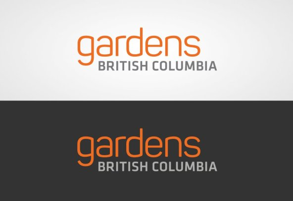 Gardens British Columbia logo on white, and the reversed-out logo on charcoal grey.