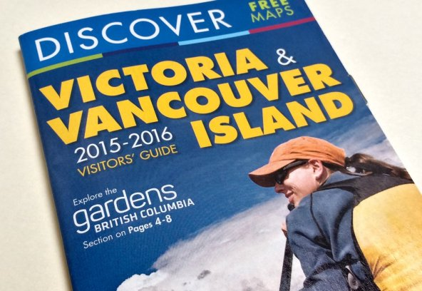 Discover Victoria and Vancouver Island rack card has a 6-page 'Follow the Garden Trail' feature layout.