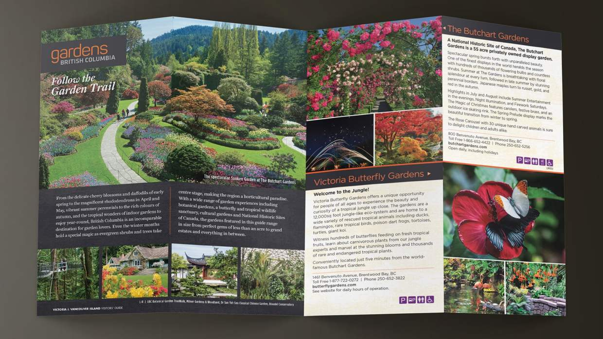 Gardens BC Follow the Garden Trail brochure opening spread