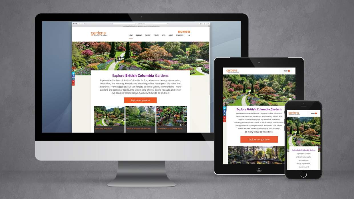 Gardens BC website responsive views