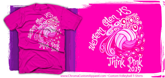 Pink-Volleyball-T-Shirt-Design-1