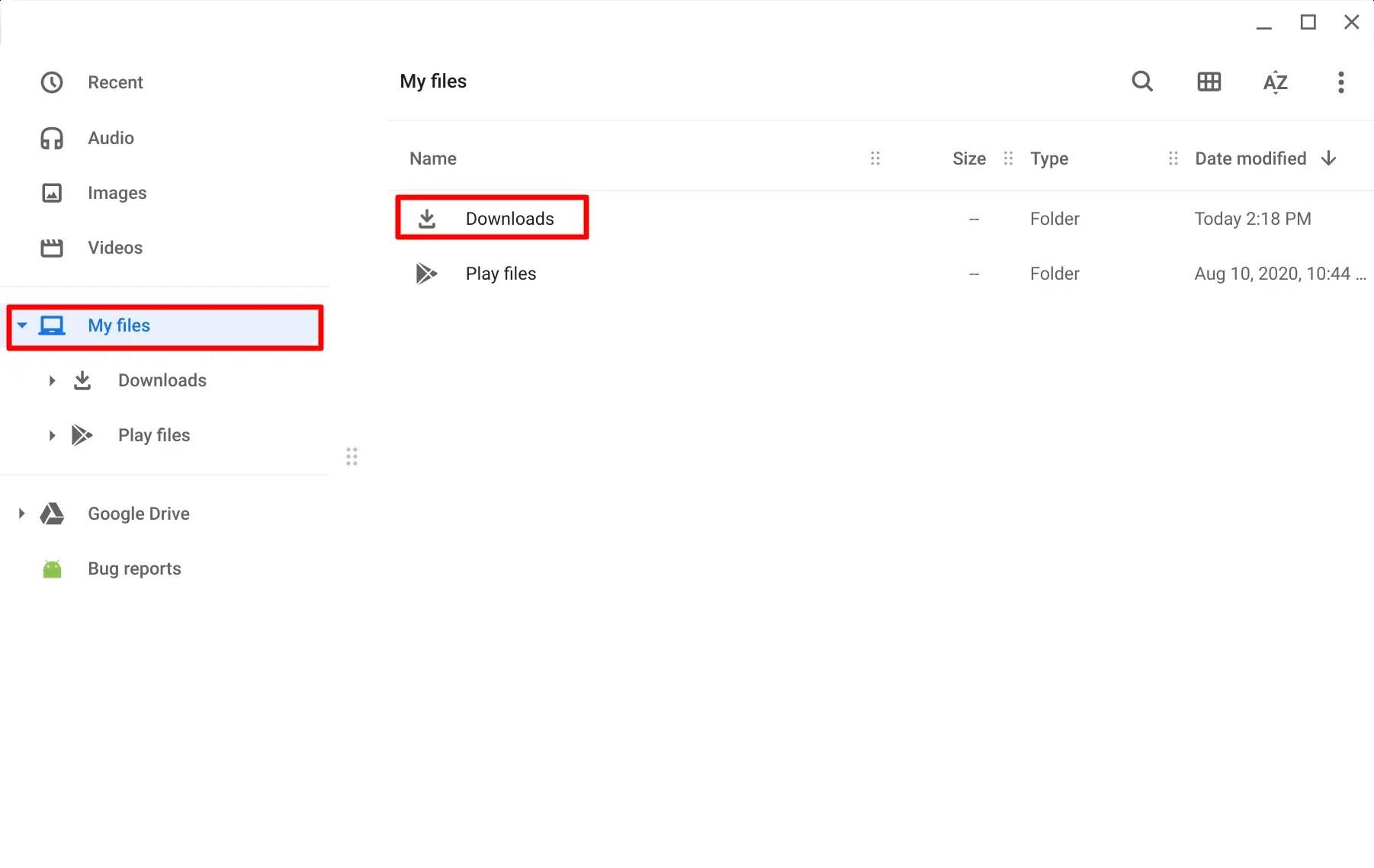 Chromebook My Files srcset=