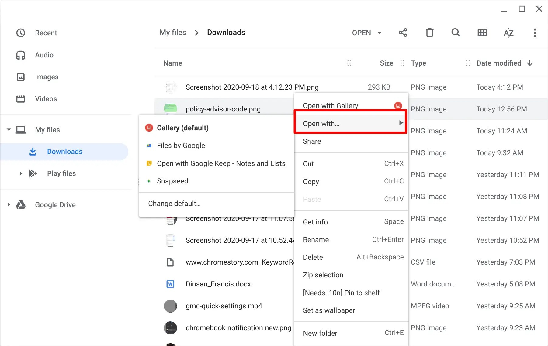 """""""Open with"""" menu on Chromebook"""