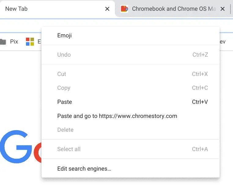 Paste and go option in Chrome