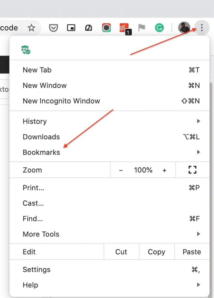 Click Bookmarks to open the bookmarks manager