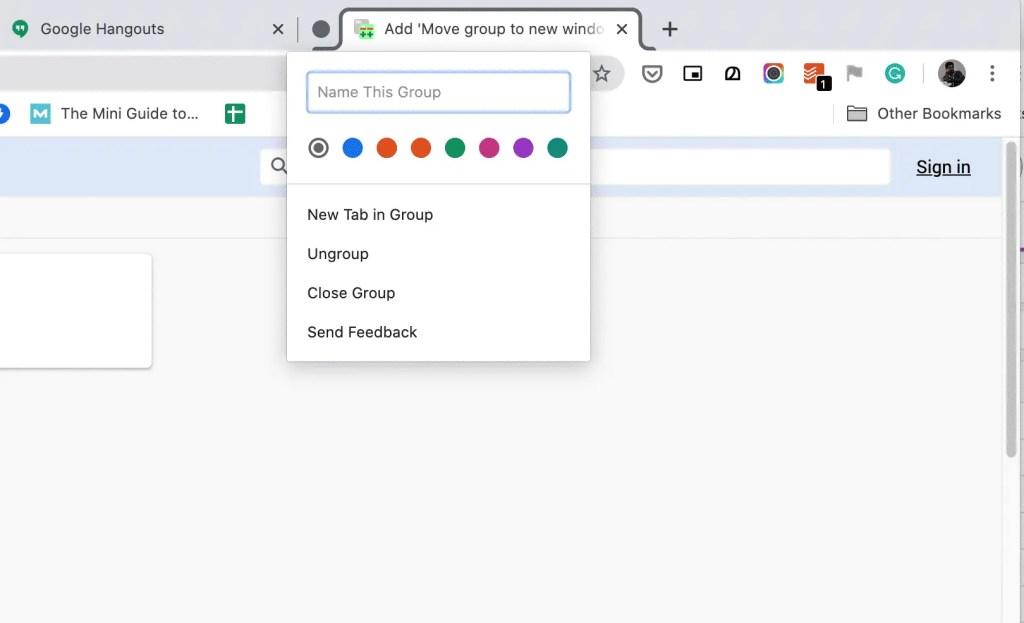 Chrome tab groups