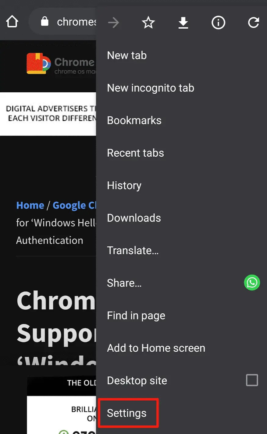 Chrome Settings Menu Item