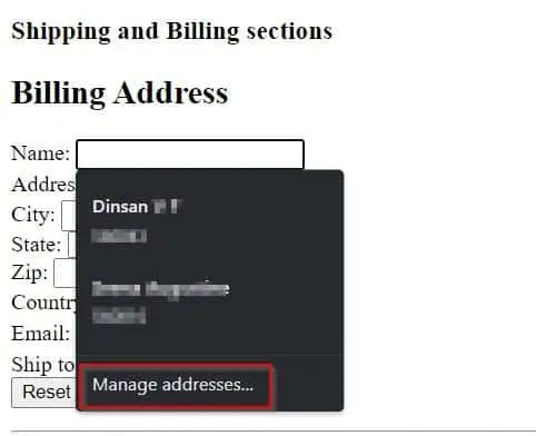 Chrome Manage Addresses