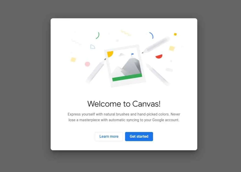 Chrome Canvas app welcome screen