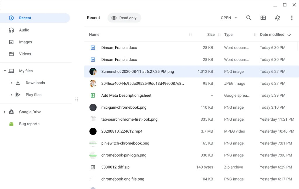Recent section in Chromebook Files app