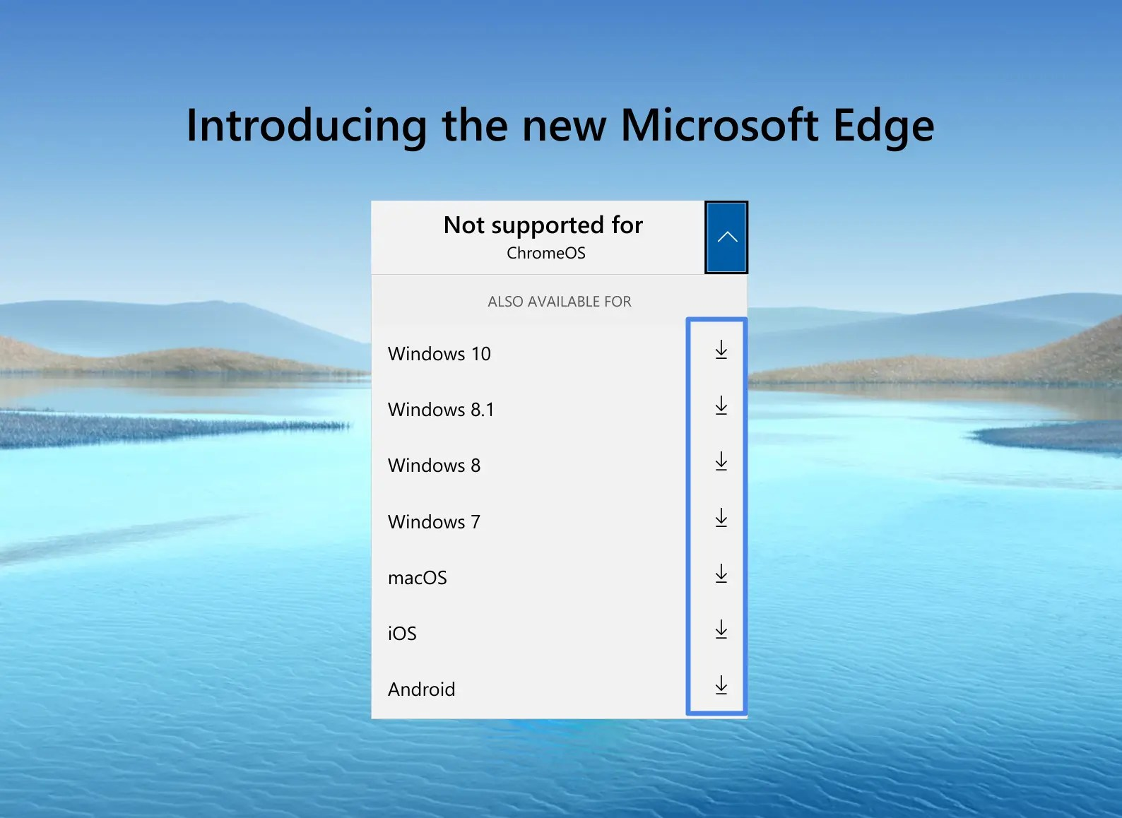 Select OS from list to download Edge