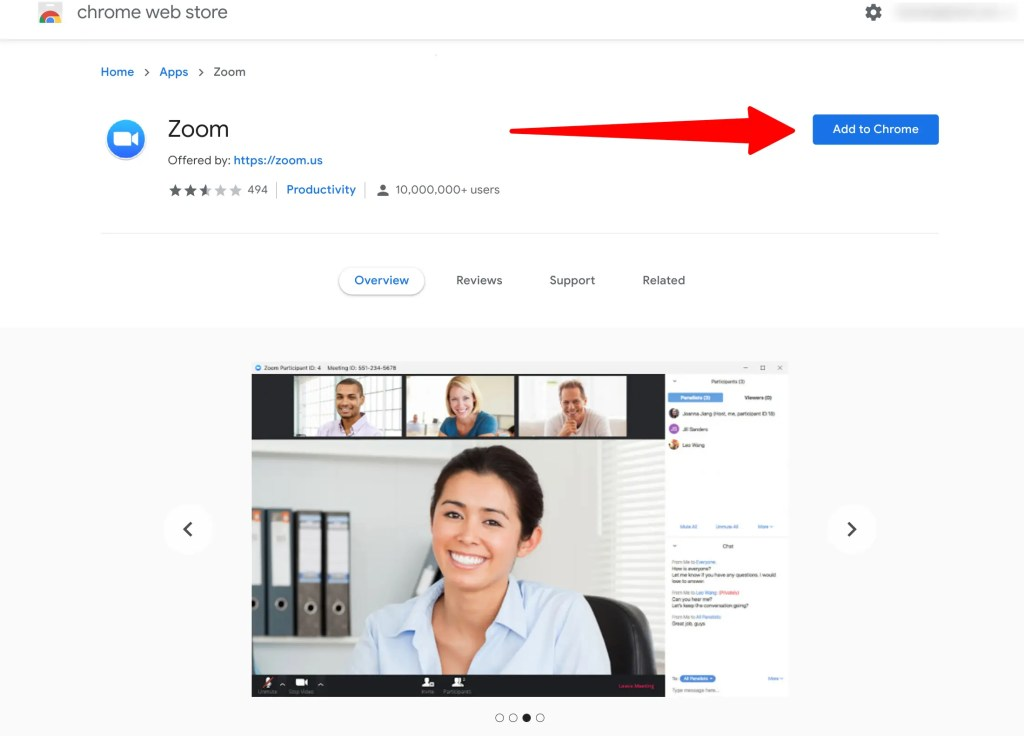 Zoom for Chrome installation page