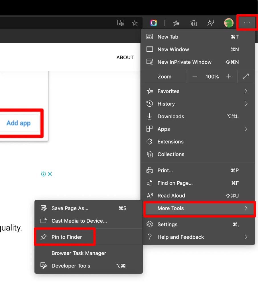 Pin websites to taskbar