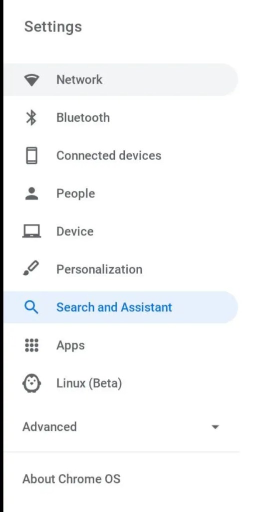 Chromebook settings app side panel