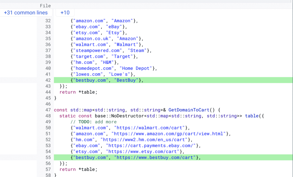 Code for Chrome Cart