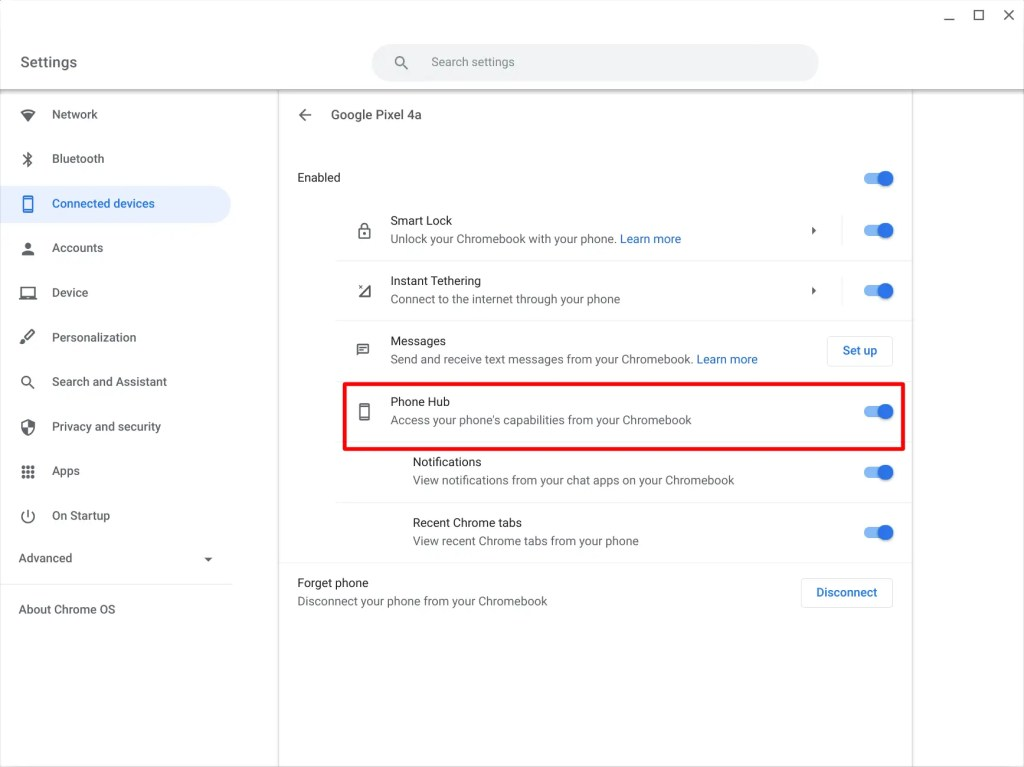 Phone Hub toggle on Chromebook