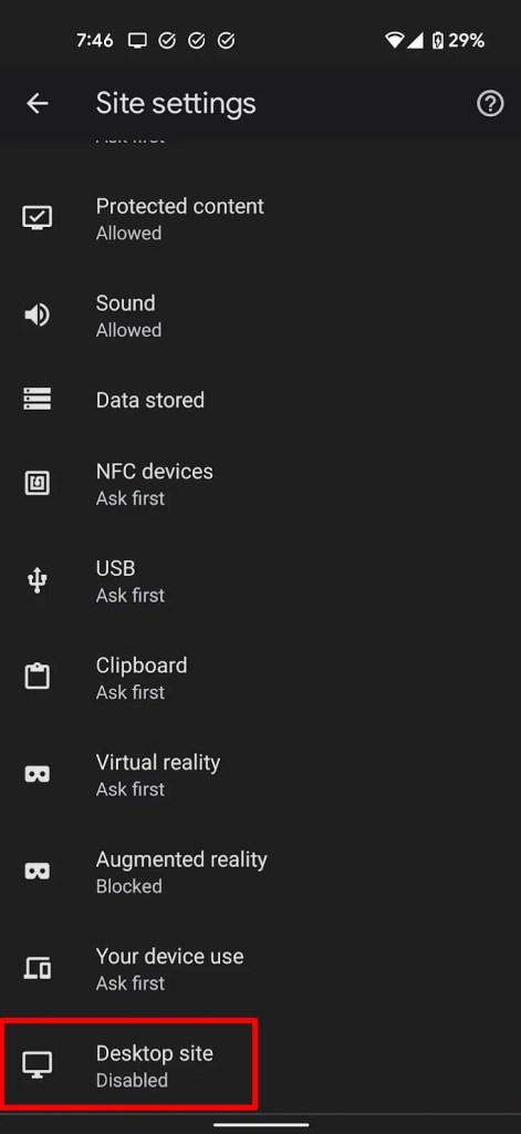 Desktop site on Chrome mobile