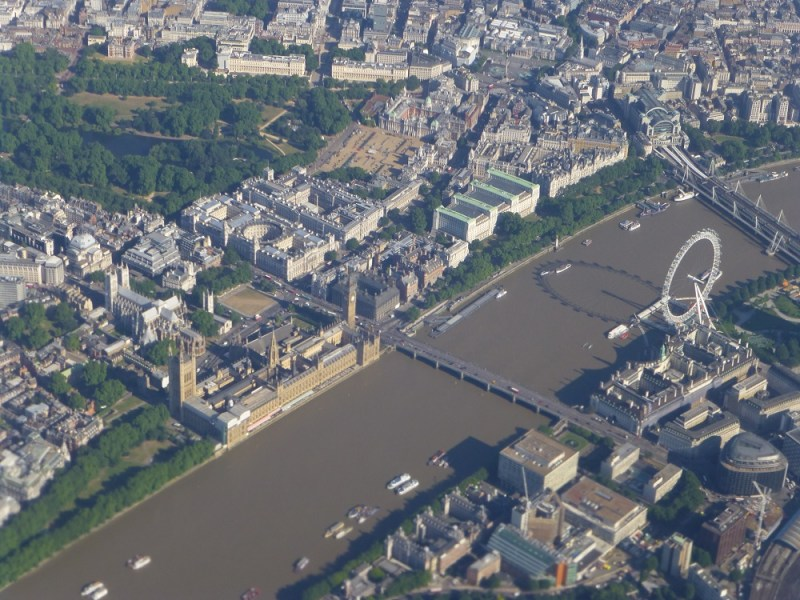 The London Eye and Parliament from above from airplane