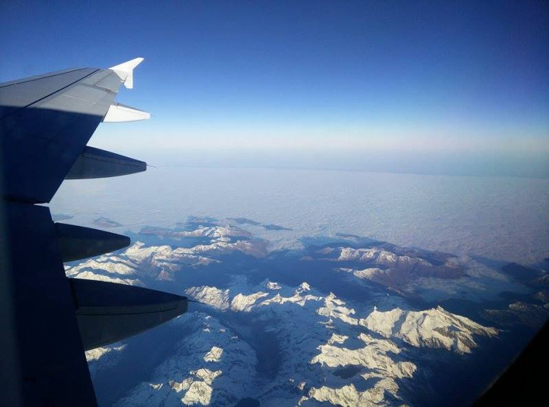 view over the alps on a flight from munich to madrid