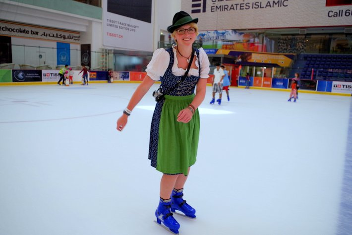 Ice skating Dubai Mall Dirndl