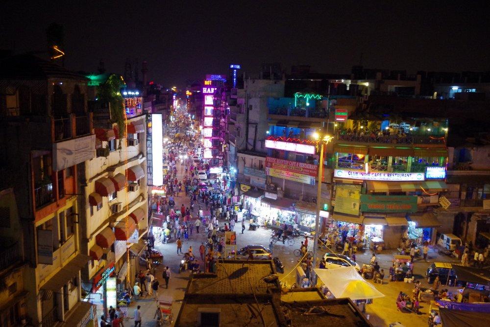 main bazaar road new delhi at night