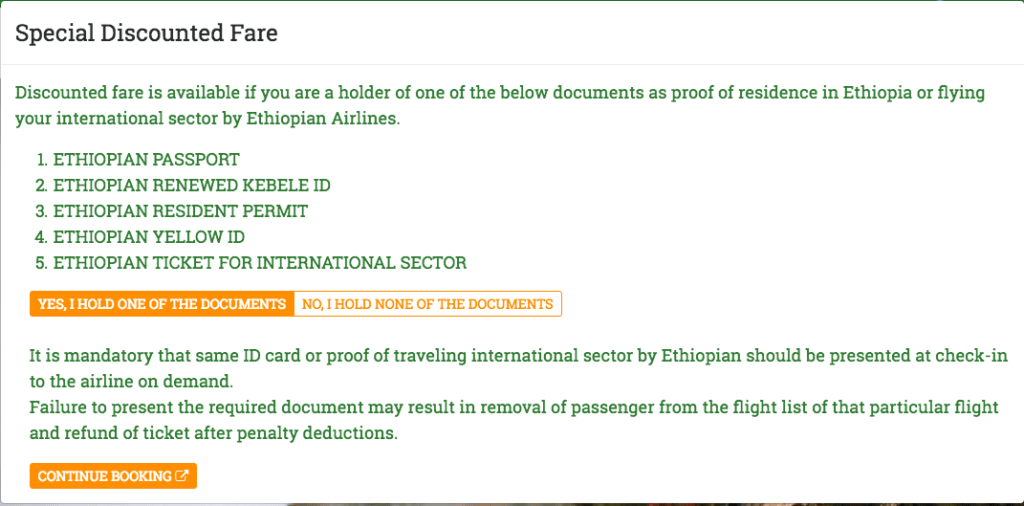 Ethiopian Airlines Discount