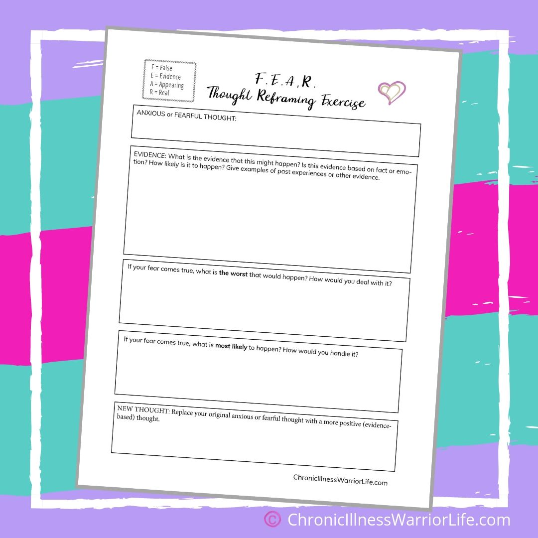 Free Printable Mental Health Anxiety Worksheet Fear Though