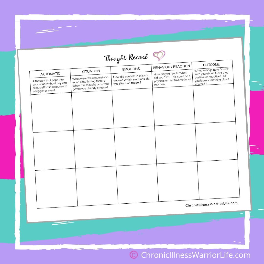 Mental Health Printable Worksheet Thought Record Log