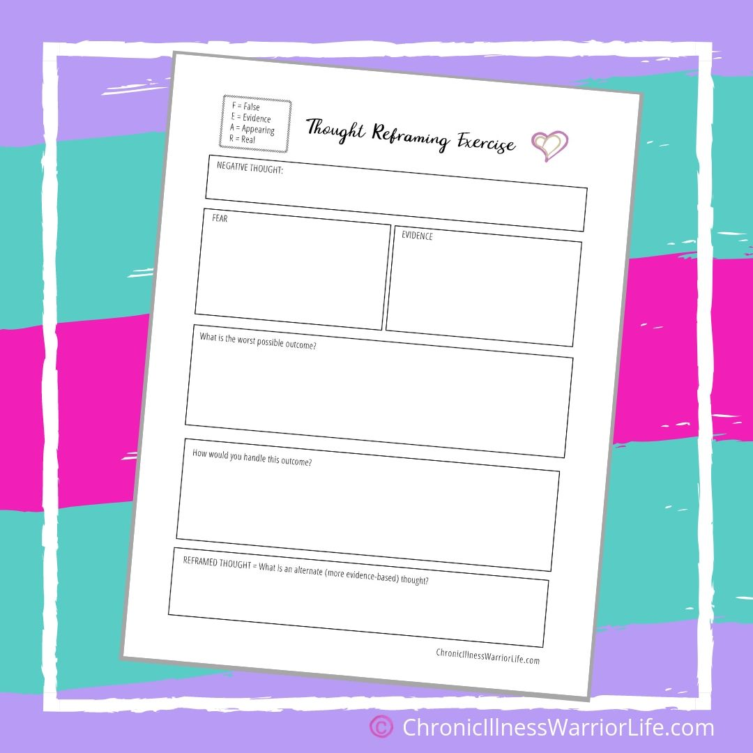 Printable Mental Health Worksheeets Thought Reframing