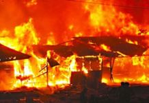 Fire destroys Sokoto Old Market. File photo of a fire scene