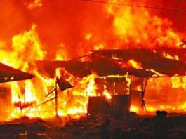 Fire destroys Sokoto Old Market. File photo of a fire scene