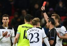 Dele Alli was sent off in the 39th-minute against Gent as Spurs were knocked out of the Europa League