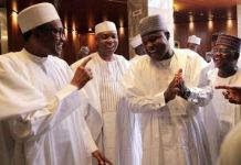 President Muhammadu Buhari with Senate President Bukola Saraki and House Speaker Yakubu Dogara