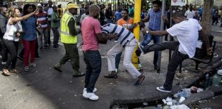 Scene of a xenophobic attack in South Africa