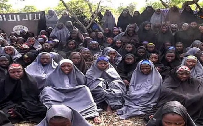 FILE PHOTO: The kidnapped Chibok Girls in a video released by Islamist sect Boko Haram shortly after they were captured