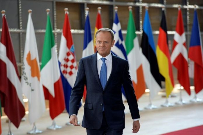 EU President Donald Tusk in Brussels at the HQ of the European Council, on April 29, 2017 for a summit on Brexit negotiating guidelines AFP