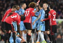 Maroune Fellaini shown the red card for headbutting Aguero