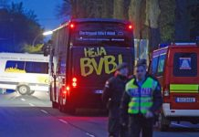 The Borussia Dortmund team bus was damaged by an explosion