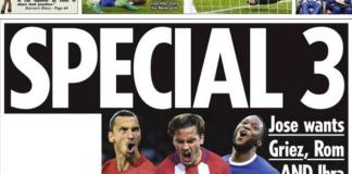 Jose Mourinho hopes to have a stellar front three at his disposal according to the Sun