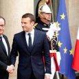 Hollande welcomes Macron to Elysee Palace