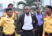 FILE PHOTO: General Manager, Lagos State Traffic Management Authority, LASTMA, Mr. Olawale Musa (middle); Head, Operation, LASTMA, Mr. Adeoye Oluyemi (left) and his Assistant, Mr. Abidoye Opeyemi (right) during a joint traffic enforcement at Agege and its environs on Friday, January 20, 2017