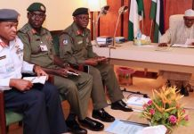 President Muhammadu Buhari (right); presiding over a security meeting with service chiefs: Chief of Defence Staff, Lt General Abayomi Olonisakin; Chief of Army Staff, Lt General Tukur Buratai and Chief of Air Staff, Air Marshal Abubakar Sadique at the State House, Abuja… yesterday
