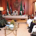 President Muhammadu Buhari presiding over a security meeting with service chiefs including the Chief of Defence Staff, General Gabriel Olonishakin; ‎Chief of Army Staff, Lt. Gen. Tukur Buratai; Chief of Air Staff, Air Marshal Sadique Abubakar; and Chief of Naval Staff, Admiral Ibok-Ete Ekwe Ibas who was represented and Inspector General of Police (IGP) Ibrahim Idris; National Security Adviser (NSA), Maj. Gen. Babagana Mongunu (rtd) and the Director-General of Department of State Services (DSS), Lawal Daura.
