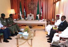 President Muhammadu Buhari presiding over a security meeting with service chiefs including the Chief of Defence Staff, General Gabriel Olonishakin; Chief of Army Staff, Lt. Gen. Tukur Buratai; Chief of Air Staff, Air Marshal Sadique Abubakar; and Chief of Naval Staff, Admiral Ibok-Ete Ekwe Ibas who was represented and Inspector General of Police (IGP) Ibrahim Idris; National Security Adviser (NSA), Maj. Gen. Babagana Mongunu (rtd) and the Director-General of Department of State Services (DSS), Lawal Daura.