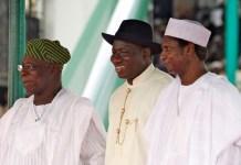 Presidents Olusegun Obasanjo, Goodluck Jonathan and Musa Yar'Adua