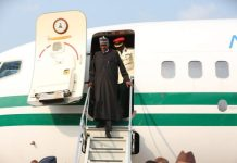 President Muhammadu Buhari on arrival from London at the Nnamdi Azikiwe International Airport Abuja on Saturday, August 19, 2017.